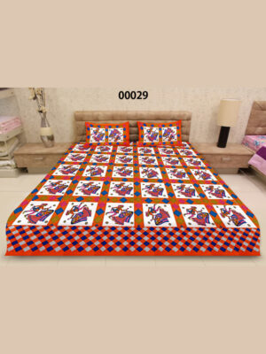 00029DarkOrange and Multicolor Traditional Cotton Queen Size Bedsheet With 2 Pillow Covers
