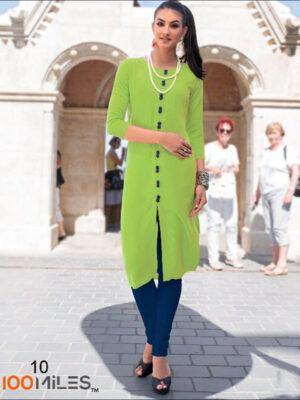 10 Parrot Green Designer Plain kurti