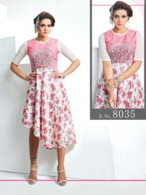 8035 White And Pink Designer Stitched Kurti
