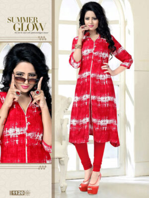 1120Red Exclusive Fancy Function Wear Rayon Kurti