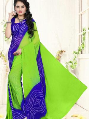502 Parrot Green Designer Bandhej Printed Chiffon Saree
