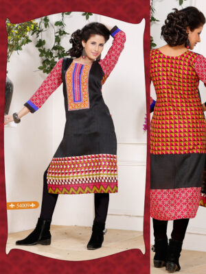 54009Black and Red Embroidered Printed Cotton Party Wear Stitched Kurti