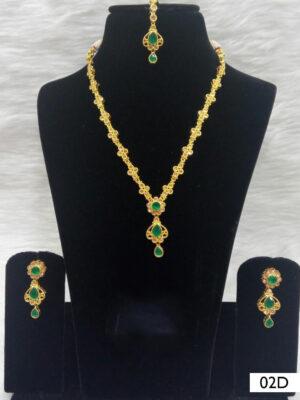 02D Green Diamond Work Necklace Set with Maang Tika