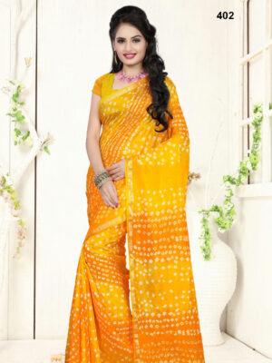 402 Yellow Designer Art Silk Bandhej Saree