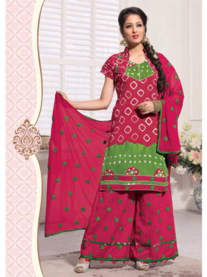 06Magenta and Green Satin Bandhej Patiala Suit