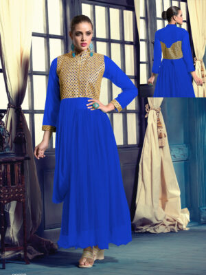 20020Blue Wedding Occasional Wear Designer Anarkali Style Gown