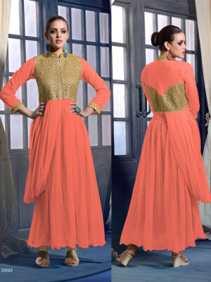20015CarrotOrange Wedding Occasional Wear Designer Anarkali Style Gown