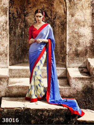 38016Blue Yellow and Red Satin Georgette Saree