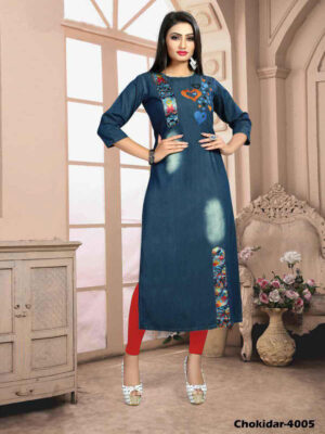 Chokidar4005 M Size Denim Kurti Collection
