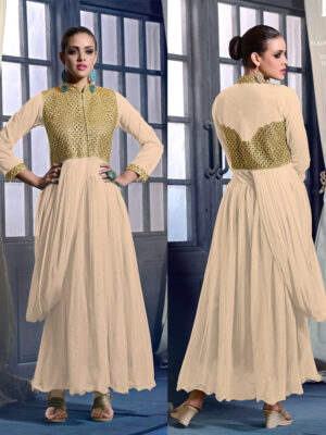 20018Cream Wedding Occasional Wear Designer Anarkali Style Gown