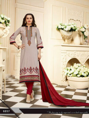 6857WheatWhite and Maroon Embroidered Cotton Daily Wear Straight Suit Dress Material