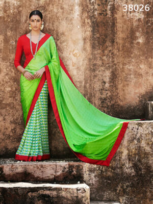 38026LightGreen and Red  Satin Georgette Saree