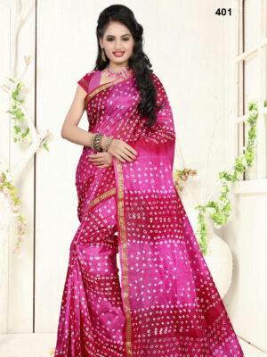 401 Magenta Designer Art Silk Bandhej Saree