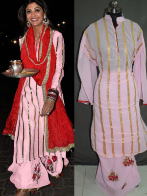 02Pink Designer Function Wear Traditional Semi-stitched Designer Plazo Replica Suit