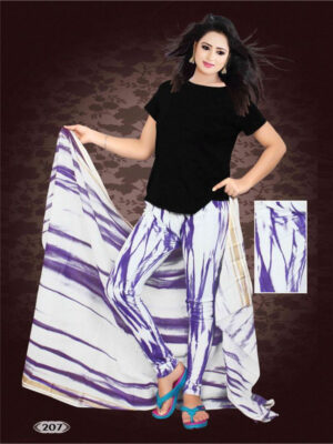 207 Midnight Blue and White Printed Cotton Leggin with Printed Cotton Dupatta Party Wear Stitched Leggin
