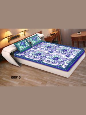 00015Blue and White Ethnic Cotton Queen Size Floral Bedsheet With 2 Pillow Covers