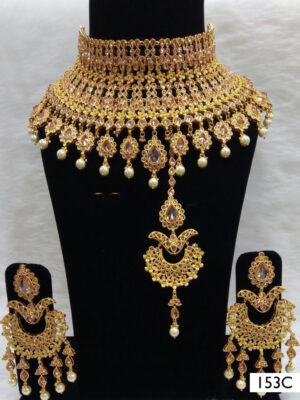 153C Golden Pearl Bridal Wear Necklace Set With Maang Tika