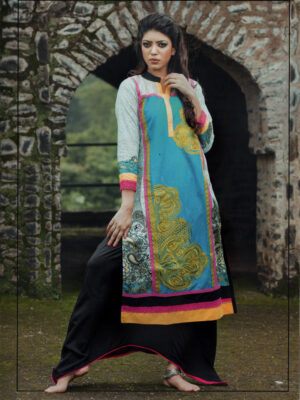 1010White and SkyBlue Cotton Lawn Daily Wear Kurti