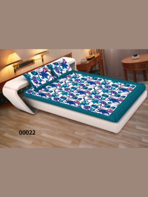 00022SeaGreen and Multicolor Ethnic Cotton Queen Size Floral Bedsheet With 2 Pillow Covers