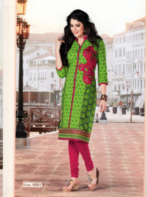 4001 Light Green and Pink Embroidered Cotton Daily Wear Kuti