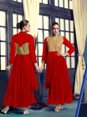 20017DarkRed Wedding Occasional Wear Designer Anarkali Style Gown