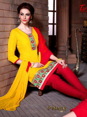 109Yellow and Red Cotton Party Wear/Daily Wear Chudidar Suit