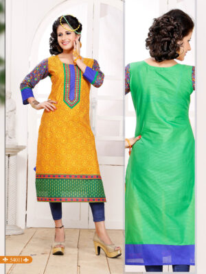 54011Orange and Green Embroidered Printed Cotton Party Wear Stitched Kurti