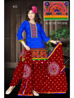 402Blue Designer Exclusive Fancy Daily Wear Cotton Salwar Suit