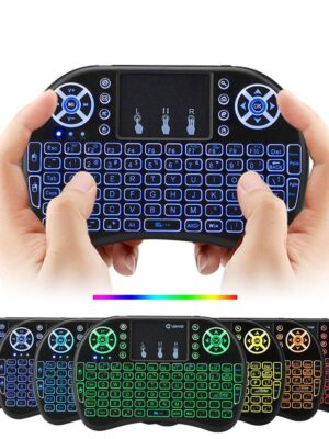 Air mouse 7 Colors Backlit i8 Mini Wireless Keyboard 2.4ghz English Russian 7 Colour Air Mouse with Touchpad Remote Control Android TV Box