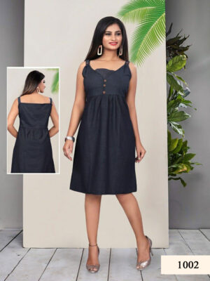 Black Cotton Denim Kurti