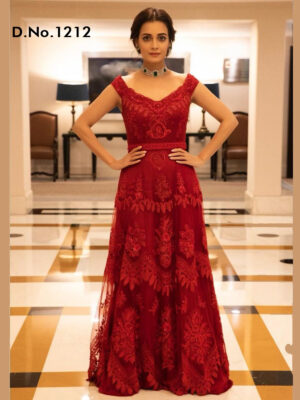 1212  Designer Red Colour Net Gown