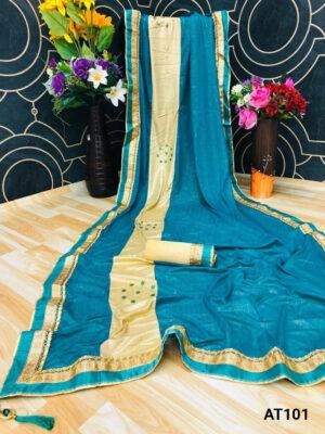 Firozi Blue Fabulous Party Wear Saree