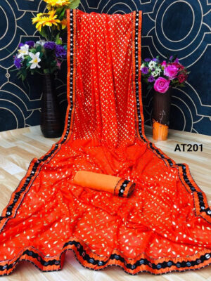 Saffron Fabulous Party Wear Saree With Sequence Lace