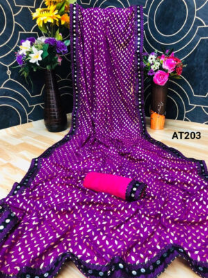 Purple Fabulous Party Wear Saree With Sequence Lace
