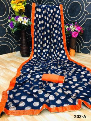 Oxford Blue Fabulous Party Wear Saree With Daimond Buttta
