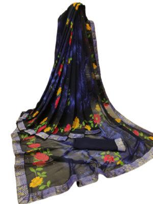 NavyBlue Digital Printed Weightless Chiffon Sarees