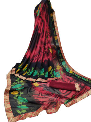 Wine Digital Printed Weightless Chiffon Sarees