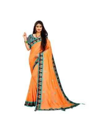 Orange Hamada Designer Saree