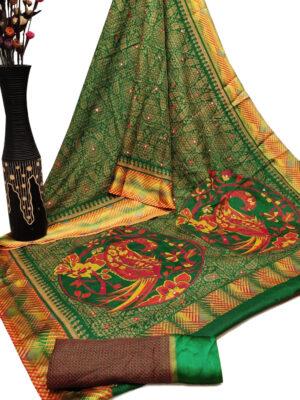 Green Cotton Checks Satin Patta Print Saree