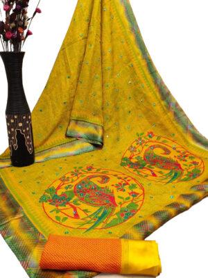 Yellow Cotton Checks Satin Patta Print Saree