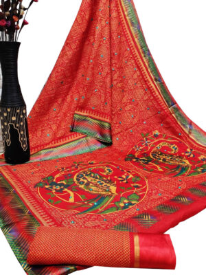 Crimson Cotton Checks Satin Patta Print Saree