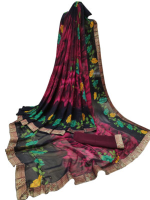 Dark Magenta Digital Printed Weightless Chiffon Sarees