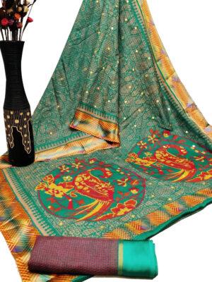 TealGreen Cotton Checks Satin Patta Print Saree