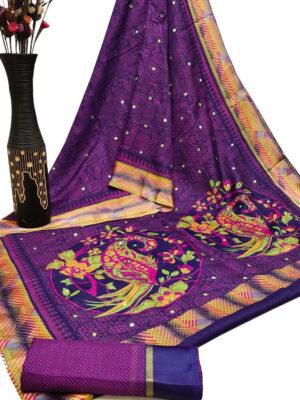 Purple Cotton Checks Satin Patta Print Saree